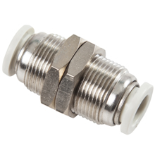 White Push in Fittings Bulkhead Union