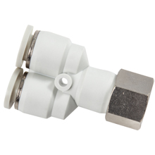 White Push in Fittings Female Y Swivel