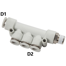 White Push in Fittings Triple Branch Reduced Male Elbow