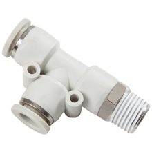 White Push in Fittings Male Run Tee Swivel