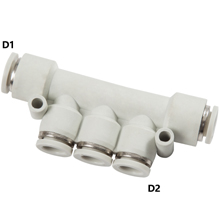 White Push in Fittings Multiple Union Branch Reducer