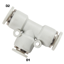 White Pnuematic Fittings Unqual Union Tee Reducer